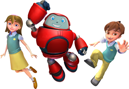 Joy, Chris and Gizmo from Superbook