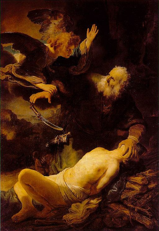 Rembrandt's famous painting of Abraham and Isaac (public domain)