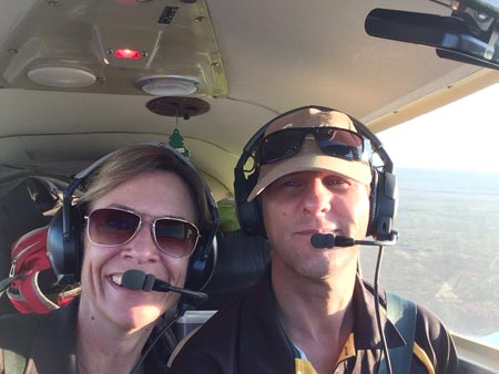 Dave Powell and Kate Appleby flying