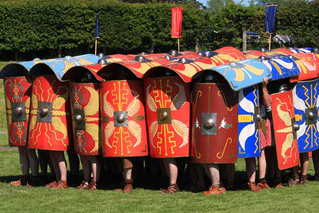 Roman shields in the testudo formation