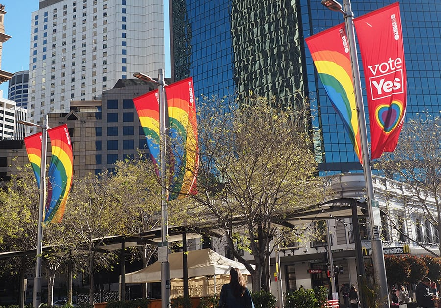 Marriage vote banners in Sydney
