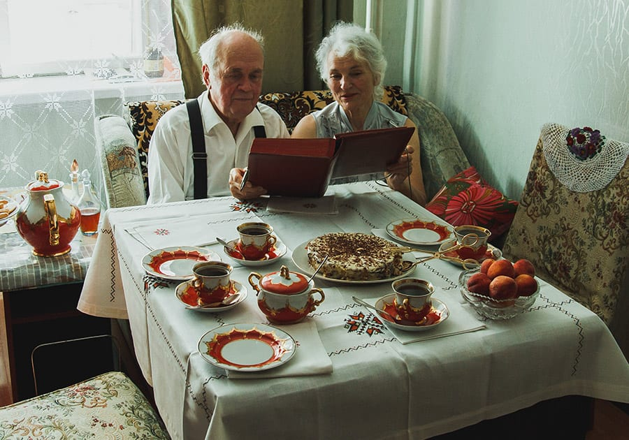 Elderly couple at dining table