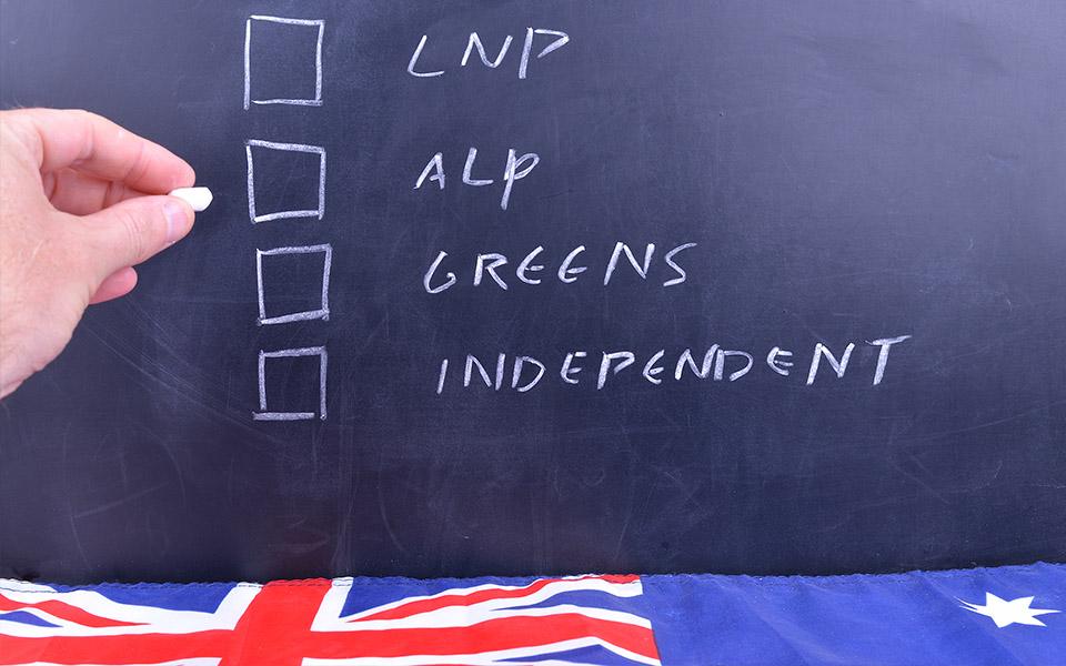 Australian election voting board