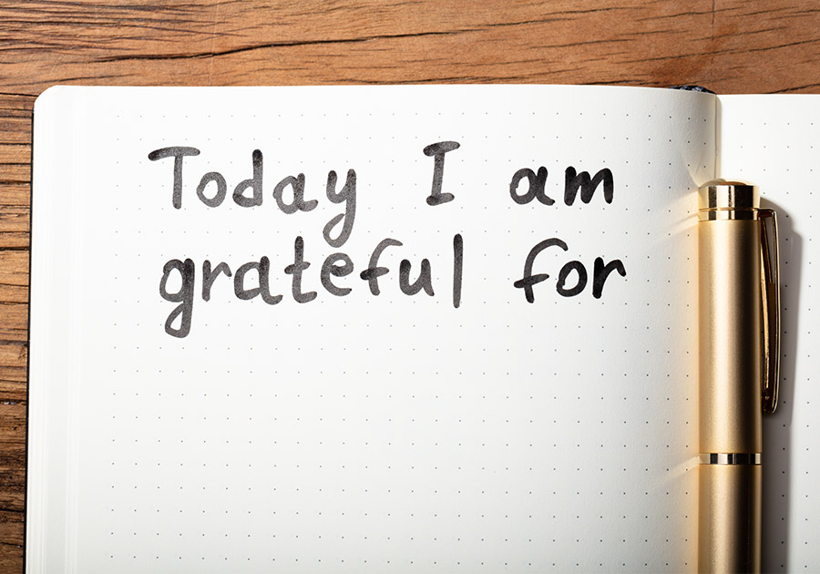 Notebook with the words Today I am grateful for