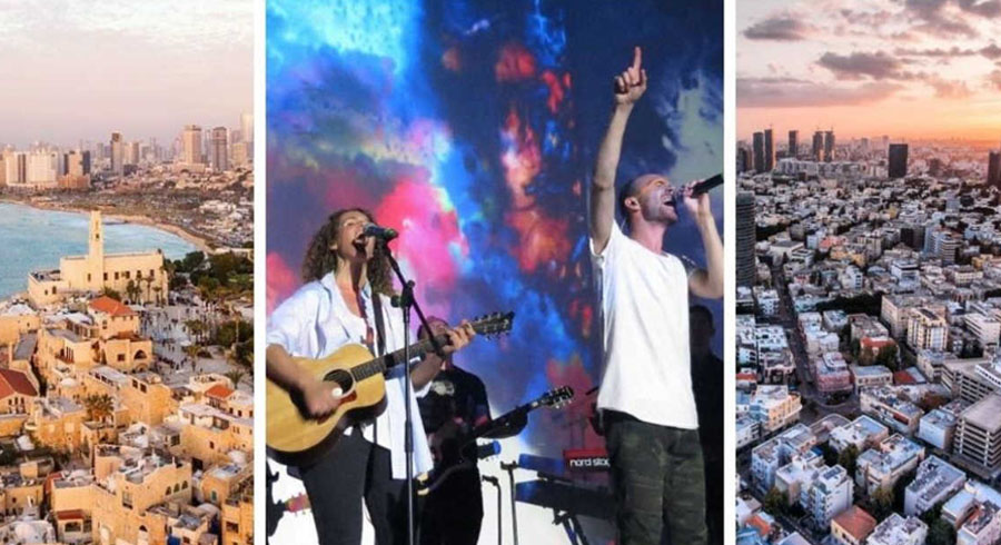 Hillsong Church with photos of Israel