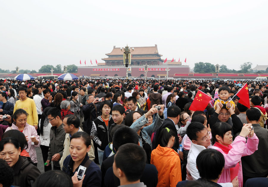 Chinese crowds at Tiananmen Square