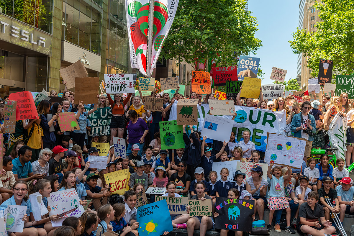Students protesting climate change in Sydney.