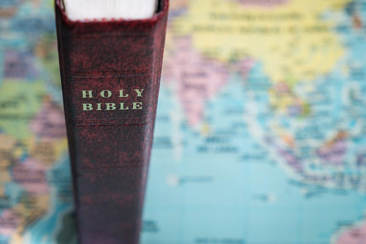 Bible on world map