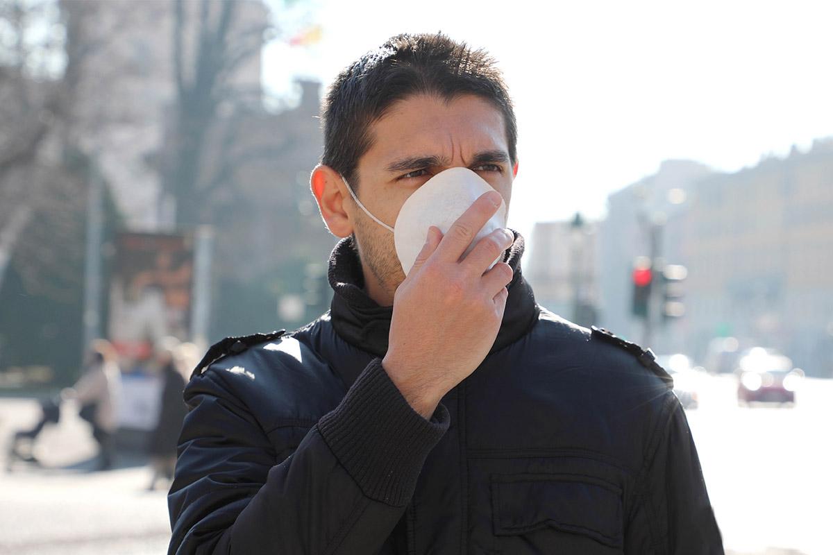 Man wearing surgical mask