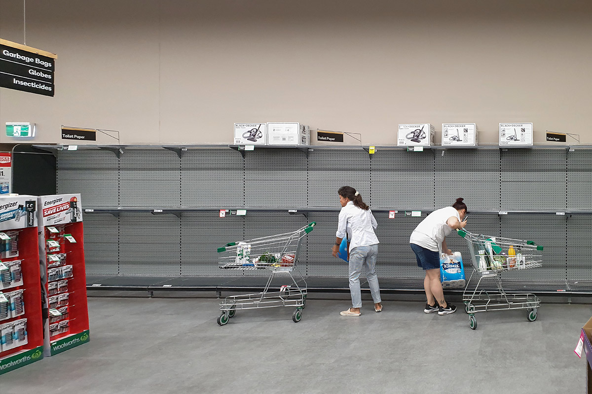 People panic buying toilet paper