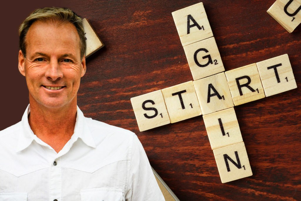 Jeff Vines with start again scrabble letters