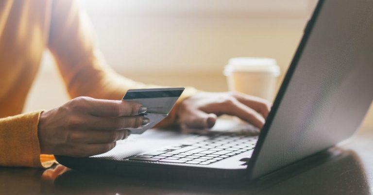 Shopping on laptop