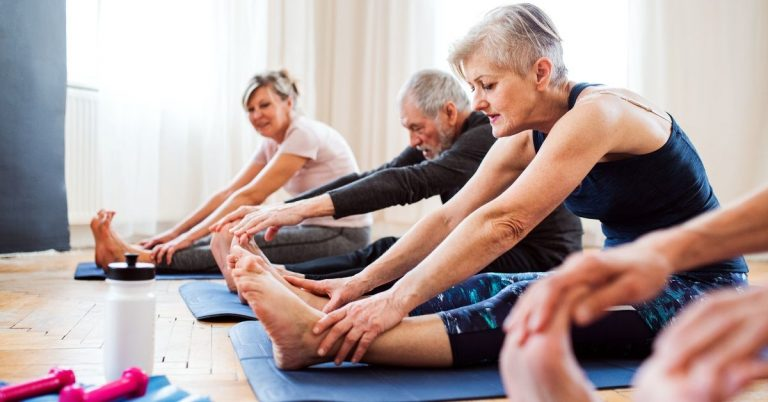 Older people in group exercise class