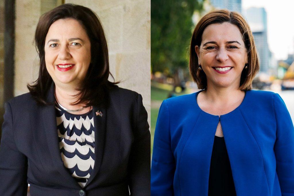 QLD Premier Annastacia Palaszczuk and LNP Leader Deb Frecklinton