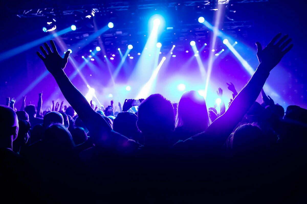Raising hands at worship service