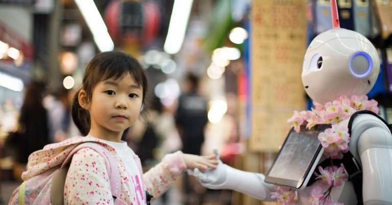 Asian girl with robot