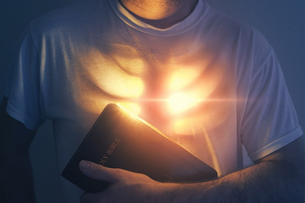 Bible lights up