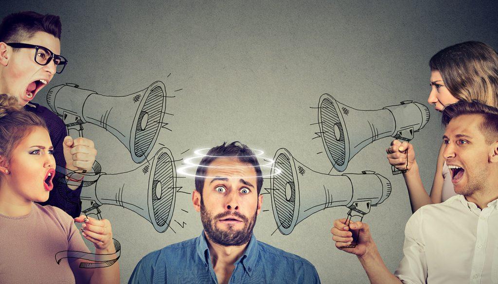 People talking over megaphones