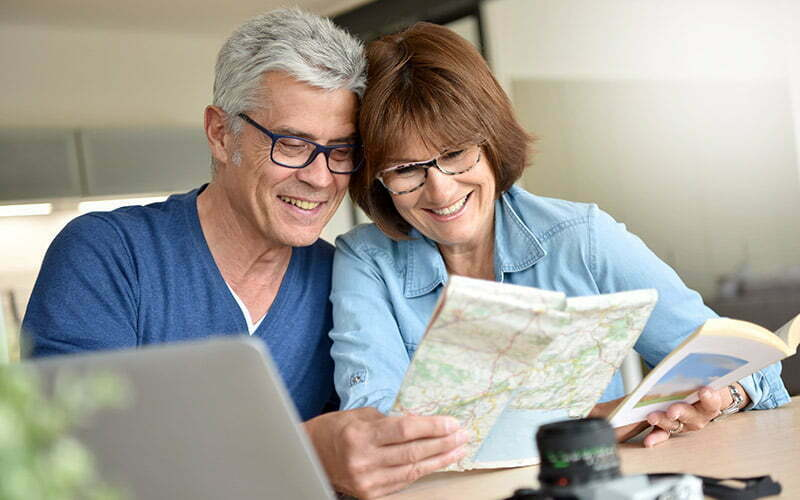 Couple planning for retirement trip