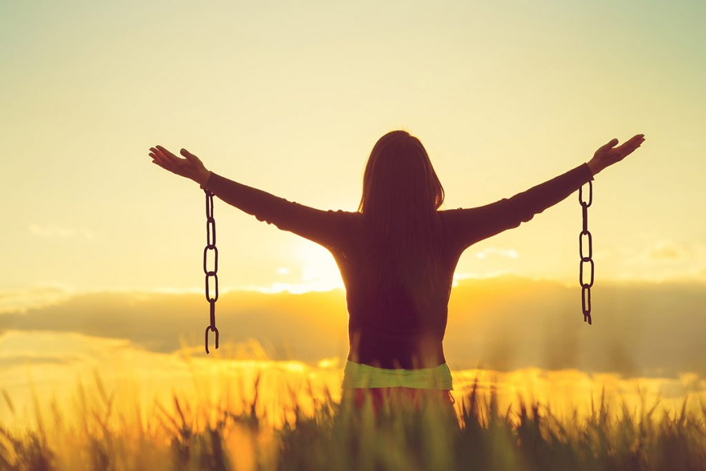 woman set free from chains