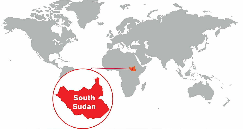South Sudan world map