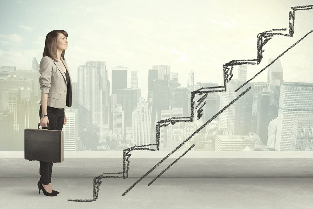 lady standing at career ladder