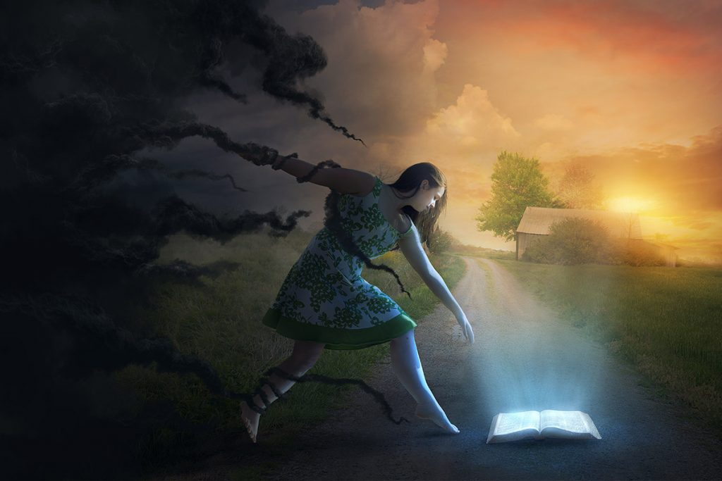 girl with shadows and bible