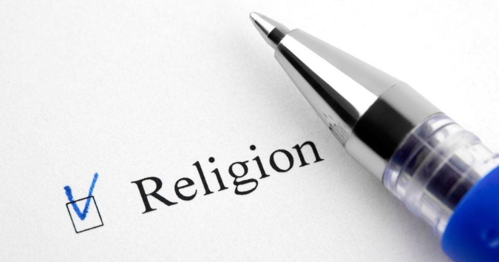 Pen ticking Religion box