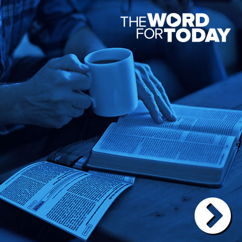Man reading bible and the word for today devotion